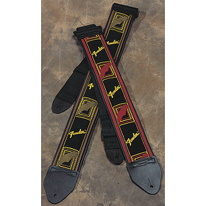 "Fender® 2"" Monogrammed Strap - Black, Yellow & Brown"