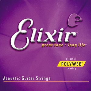 Elixir Acoustic Guitar Strings with Original Polyweb Coating - Custom Light