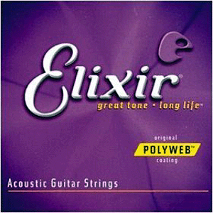 Elixir Acoustic Guitar Strings with Original Polyweb Coating - Light-Medium