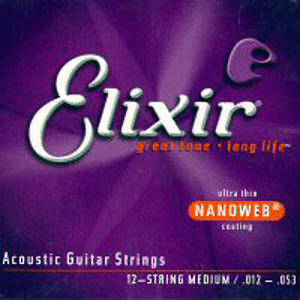 Elixir Acoustic Guitar Strings with Ultra-Thin Nanoweb Coating - 12 String Medium