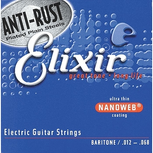 Elixir Electric Guitar Strings with Ultra-Thin Nanoweb Coating - Baritone