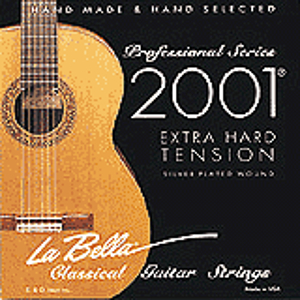 La Bella Series 2000 Flamenco Black Nylon Guitar Strings - Light Tension, 3 Sets