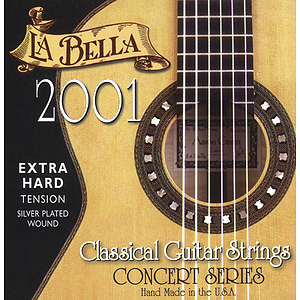 La Bella Series 2000 Flamenco Black Nylon Guitar Strings - Hard Tension, 3 Sets