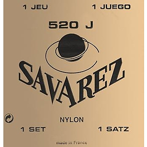 Savarez 520J Yellow Card Classical Nylon Guitar Strings - Very High Tension, 3 Sets