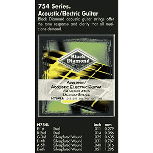 Black Diamond 754XL Acoustic Guitar Strings - Light, 3 Sets