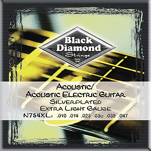 Black Diamond 754XL Acoustic Guitar Strings - Extra Light, 3 Sets