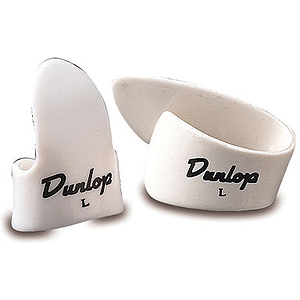 Dunlop Plastic Fingerpicks - Medium, White, 12 pieces