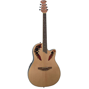 Applause AE128 Acoustic-Electric Super-Shallow Bowl Guitar, Natural