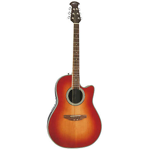 Applause AE128 Acoustic-Electric Super-Shallow Bowl Guitar, Honeyburst