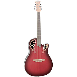 Applause AE128 Acoustic-Electric Super-Shallow Bowl Guitar, Ruby Red