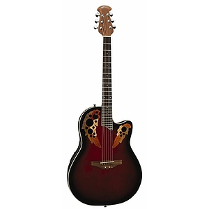 Applause AE148 Super-Shallow MultiSoundhole Acoustic-Electric Guitar - Red Burst