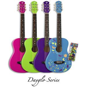 Luna Aurora Dayglo Children's 3/4-size Acoustic Guitar - Pink
