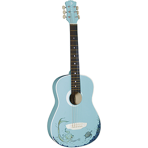 Luna Mermaid Children&#039;s Mini-Acoustic Guitar - Turquoise with Mermaid Design