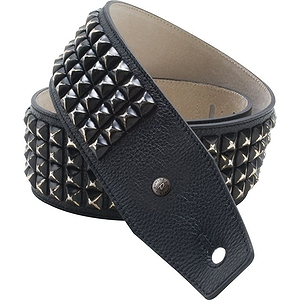 "Dunlop BMF 2.5"" Leather Guitar Strap with Distressed Black Studs"