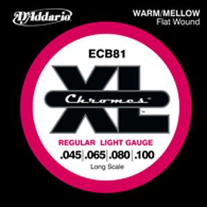 D'Addario ECB81 Chrome Flat Wound Electric Bass Strings - Regular Light