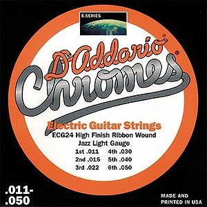 D'Addario ECG-24 Electric Guitar Strings - Chromes, Flat Wound, Jazz Light, 3 Sets