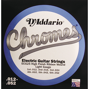 D'Addario ECG-25 Electric Guitar Strings - Chromes, Flat Wound, Light, 3 Sets