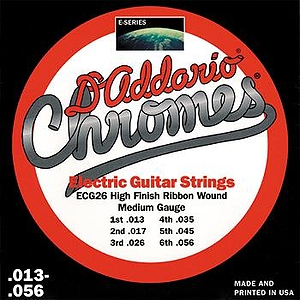 D'Addario ECG-26 Electric Guitar Strings - Chromes, Flat Wound, Medium, 3 Sets