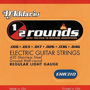 D&#039;Addario EHR-310 Electric Guitar Strings - Half-Round, Regular Light, 3 Sets