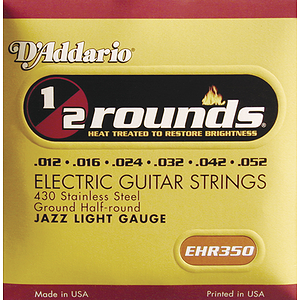 D&#039;Addario EHR-350 Electric Guitar Strings - Half-Round, Jazz Light, 3 Sets