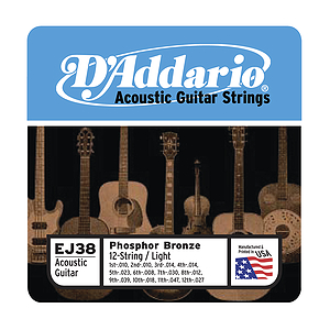 D'Addario Phosphor Bronze Acoustic Guitar Strings - 12-string Light - Box of 10 sets