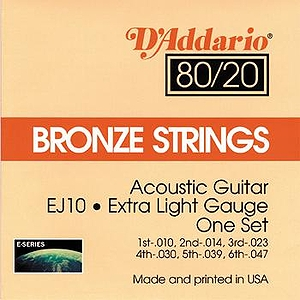 D'Addario EJ10 Acoustic Guitar Strings - 80/20 Bronze, Extra Light, 3 Sets