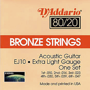 D'Addario 80/20 Bronze Acoustic Guitar Strings - Extra Light, Environmental Packaging - Box of 10 sets