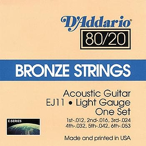 D&#039;Addario EJ11 Acoustic Guitar Strings - 80/20 Bronze, Light, 3 Sets