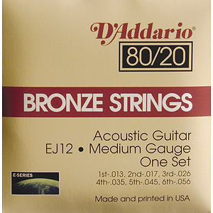 D'Addario EJ12 Acoustic Guitar Strings - 80/20 Bronze, Medium, 3 Sets