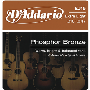 D'Addario Phosphor Bronze Acoustic Guitar Strings - Extra Light - Box of 10 sets