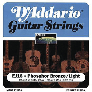 D'Addario Phosphor Bronze Acoustic Guitar Strings - Light, Environmental Packaging - Box of 10 sets
