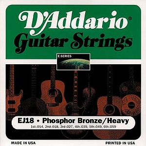 D'Addario EJ18 Acoustic Guitar Strings - Phosphor Bronze Round Wound, Heavy, 3 Sets