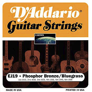 D'Addario Phosphor Bronze Acoustic Guitar Strings - Bluegrass - 3 sets of strings