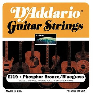 D'Addario EJ19 Acoustic Guitar Strings - Phosphor Bronze Round Wound, Bluegrass (Light Top/Med Bottom), 3 Sets