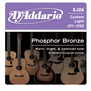 D'Addario EJ26 Phosphor Bronze Acoustic Guitar Strings - Custom Light - 3 sets of strings