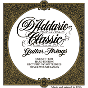 D'Addario EJ31 Classic Folk Nylon Guitar Strings - Hard Tension - 3 Sets