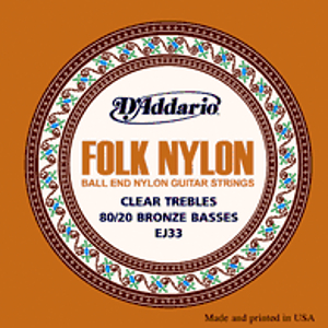 D'Addario EJ33 Folk Nylon Guitar Strings - Normal Tension - 3 Sets