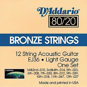 D'Addario EJ36 12-string Acoustic Guitar Strings - 80/20 Bronze, Light, 3 Sets