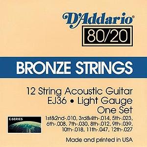D'Addario EJ36 12-string Acoustic Guitar Strings - 80/20 Bronze, Light, 3 Sets