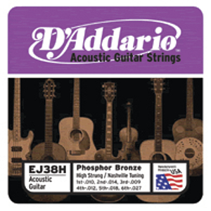 D&#039;Addario EJ38H Phosphor Bronze Round Wound Acoustic Guitar Strings - High Strung Tuning - 3 Sets