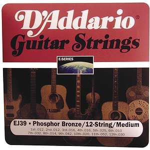 D'Addario EJ39 12-string Acoustic Guitar Strings - Phosphor Bronze Round Wound, Medium, 3 Sets