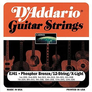 D'Addario EJ41 12-string Acoustic Guitar Strings - Phosphor Bronze Round Wound, Extra Light, 3 Sets