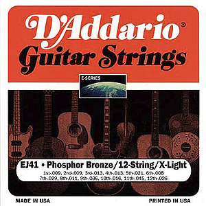 D'Addario Phosphor Bronze Acoustic Guitar Strings - 12-string Extra Light - Box of 10 sets