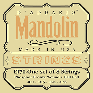 D'Addario EJ70 Phospher Bronze Mandolin Strings - Light Gauge - 3 Sets