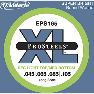 D'Addario EPS165 Pro Steel Bass Guitar Strings - Regular Light Top, Medium Bottom