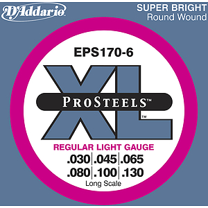 D'Addario EPS170-6  Pro Steel 6-String Bass Guitar Strings - Regular Light Gauge