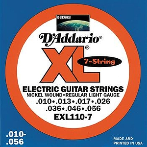 D'Addario EXL1107 7-string Electric Guitar Strings - Nickel Round Wound, Regular Light, 3 Sets