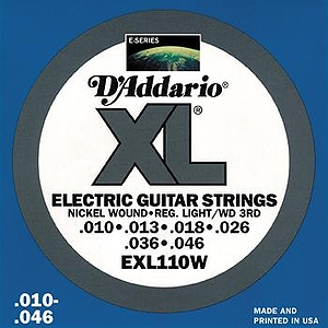 D'Addario EXL110W Electric Guitar Strings - Nickel Round Wound, Regular Light/Wound 3rd, 3 Sets