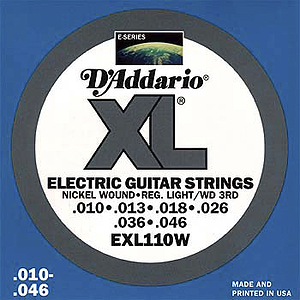 D'Addario XL Electric Guitar Strings - Light w/ wound 3rd string, Environmental Packaging - Box of 10 sets