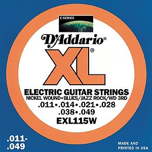 D&#039;Addario EXL115W Electric Guitar Strings - Nickel Round Wound, Blues/Jazz/Rock/Wound 3rd, 3 Sets
